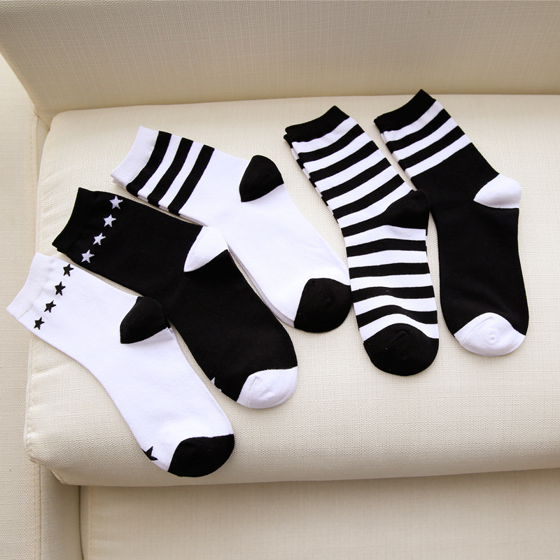 2018 New Fashion Harajuku Cotton   Socks   for Women Hiphop Skateboard Stripe Start Funny   Socks   Female High Quality Sox Meias