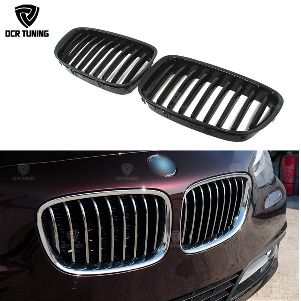 Single Slat ABS Plastic Front Grille For BMW 5 Series F07 2010 2011 2012 2013 2014 2015 - on Glossy Black Finish car bight glossy black double slat front grille grill for bmw e92 lci facelift e93 2011 2012 2013 c 5
