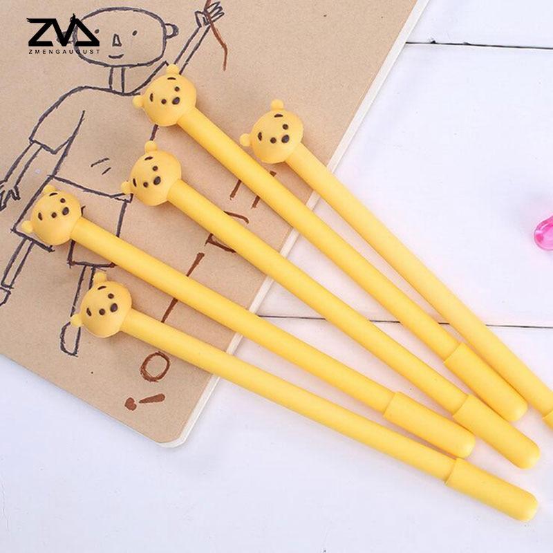 2 pcs lot Creative cartoon Cute bear gel pen cute Neutral pen canetas material escolar kawaii office school stationery in Gel Pens from Office School Supplies
