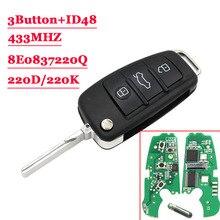 3 кнопки дистанционного автомобиля Флип ключ 433 MHz брелок для AUDI A2 A4 S4 Cabrio Quattro Avant 2005 2006 2007 2008 с 48 чип 8E0 837 220Q K D