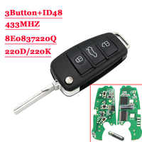 3 taste Auto Flip Schlüssel 433MHz Fob für AUDI A2 A4 S4 Cabrio Quattro Avant 2005 2006 2007 2008 mit 48 Chip 8E0 837 220Q K D