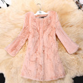 Large Size Three Quarter Sleeve Soft Fur Coats 2017 New Natural Fur Jacket Winter Entire Skin Real Rabbit Fur Long Coat LH575