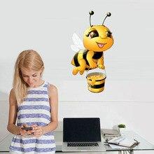 Cartoon Bee Wall Stickers For Kids Rooms Home Decor Little Animal Decals Baby Nursery Diy Vinyl Sticker Mural
