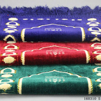 red blue grey Islamic kowtow pad for Muslim prayer flocking chenille Muslim worship blanket