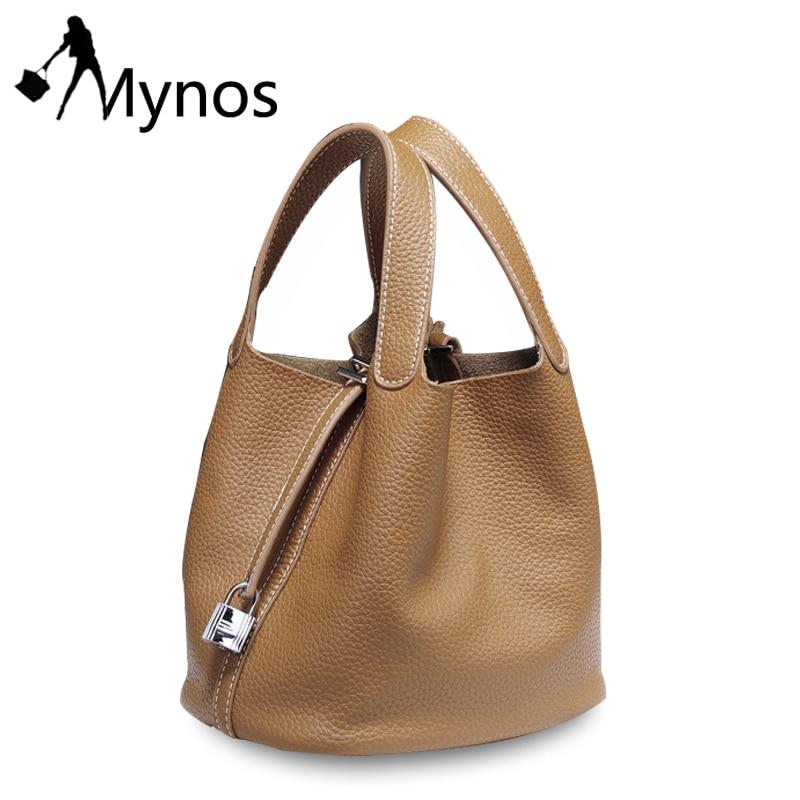 Mynos  Genuine Leather High Quality Fashion Bucket Women Handbag Shoulder Crossbody Bag Ladies Female Sac A Main Bolsos Femme