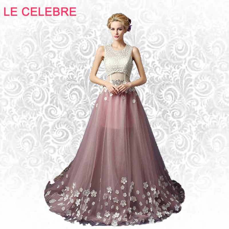 AnXin SH pink lace princess white flower evening dress pink flower beading crystal evening Dress lace white flower evening dress