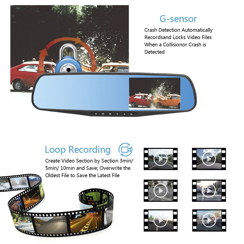 HGDO 4 3 39 39 Car DVR Dual Lens Car Camera Full HD 1080P Video Recorder Rearview Mirror With Rear view DVR Dash cam in Car Mirror Video from Automobiles amp Motorcycles