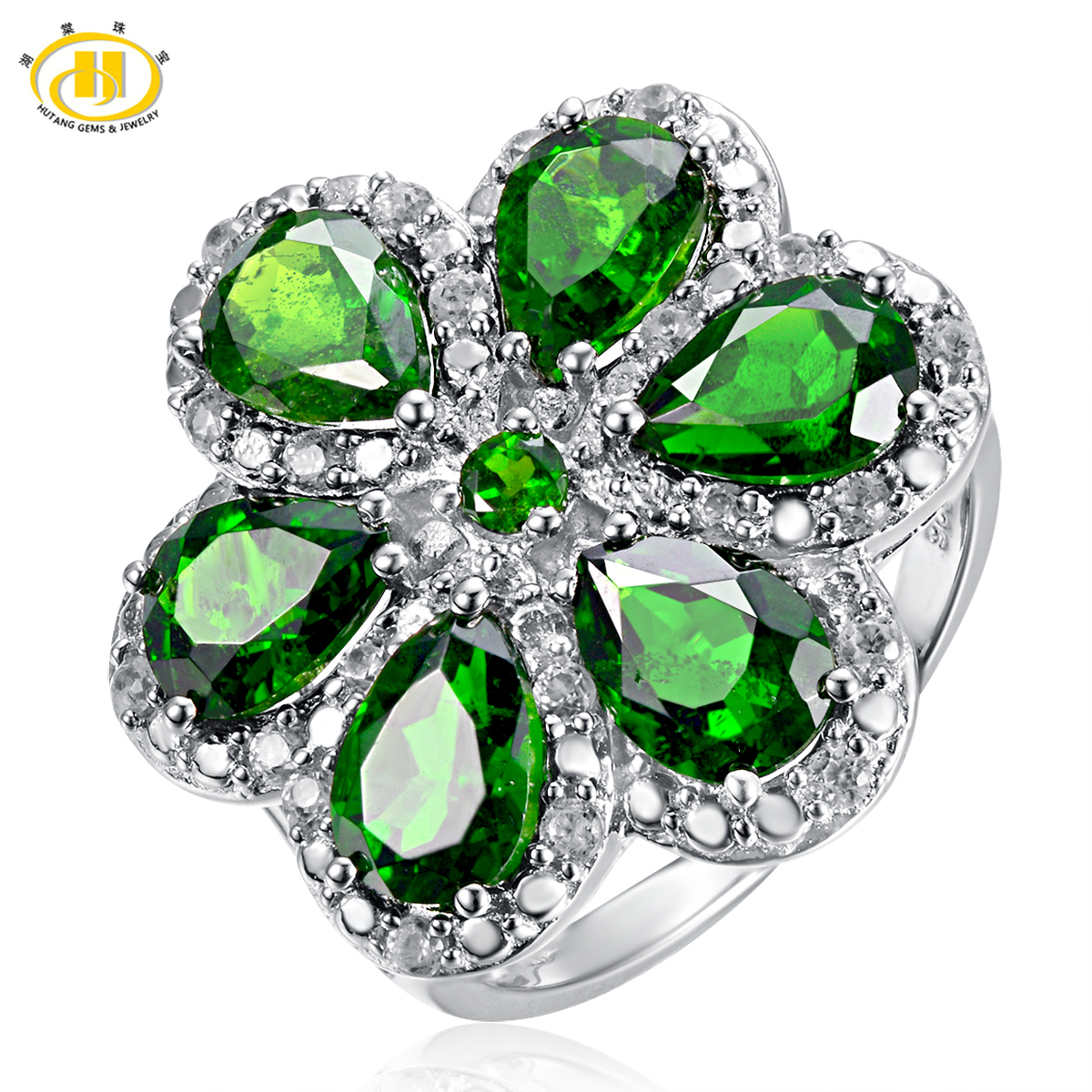 Hutang Natural Chrome Diopside Flower Ring Solid S925 Sterling Silver Luxury Fine Jewelry Women's Birthday Gift цена и фото