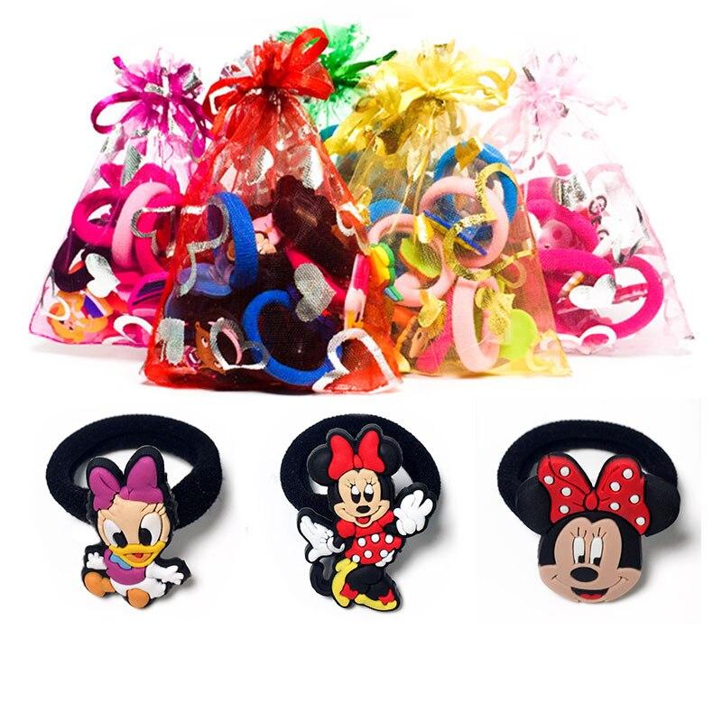 1-8pcs Mickey Minnie Hot Cartoon Hair Bands Hairpins Barrettes Kids Headwear Multicolor Hair Ropes Hair Travel Accessories