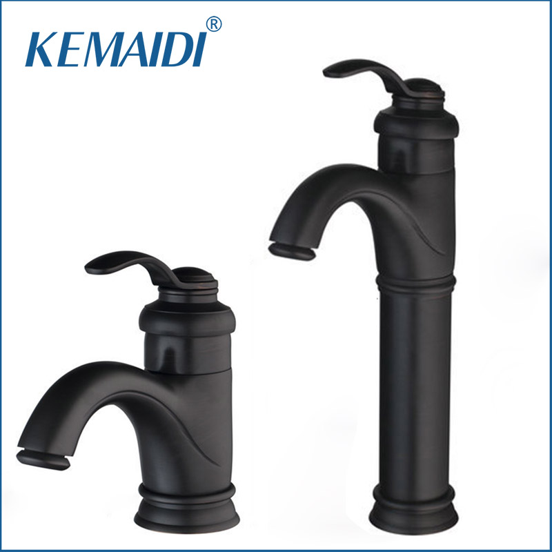 KEMAIDI Oil Rubbed Black Bronze Bathroom Faucet Torneira Bathroom Deck Mounted Single Handle Wash Basin Sink Faucets Mixer Tap wall mounted dual ceramic handle bathroom faucet black oil rubbed bronze faucets swivel spout basin mixer sink tap lnf523