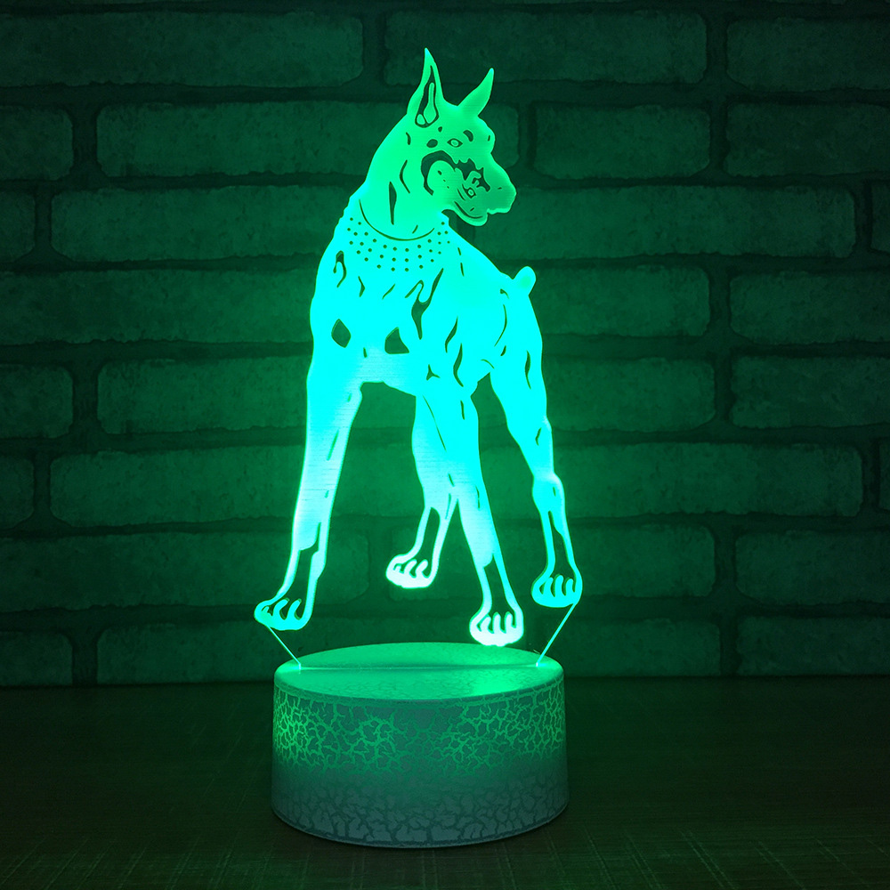 Creative 7 Color Changing Nightlight 3D Led Visual Dog Modelling USB Touch Desk Lamp Bedroom Home Decoration Kids Birthday Gifts
