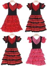 New Girls Beautiful Spanish Flamenco Dress Costume Girls Dance Dress Size;2,4,6,8,10 Size U-pick цена