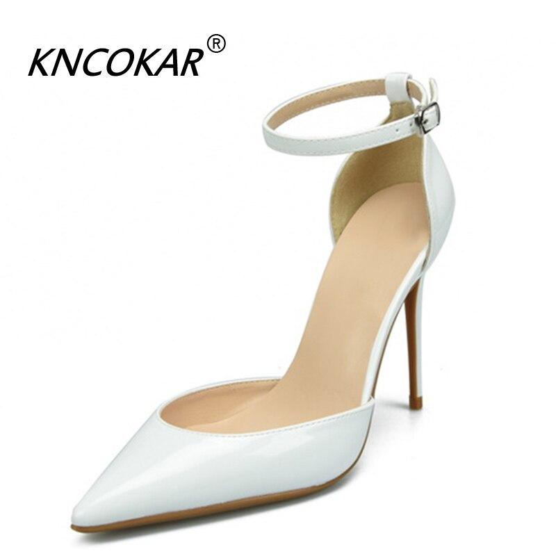 KNCOKAR la saison 2018 printemps et automne nouveau fermoir en cuir verni chaussures simples nus pointus talons hauts femmes sandales à talons aiguilles