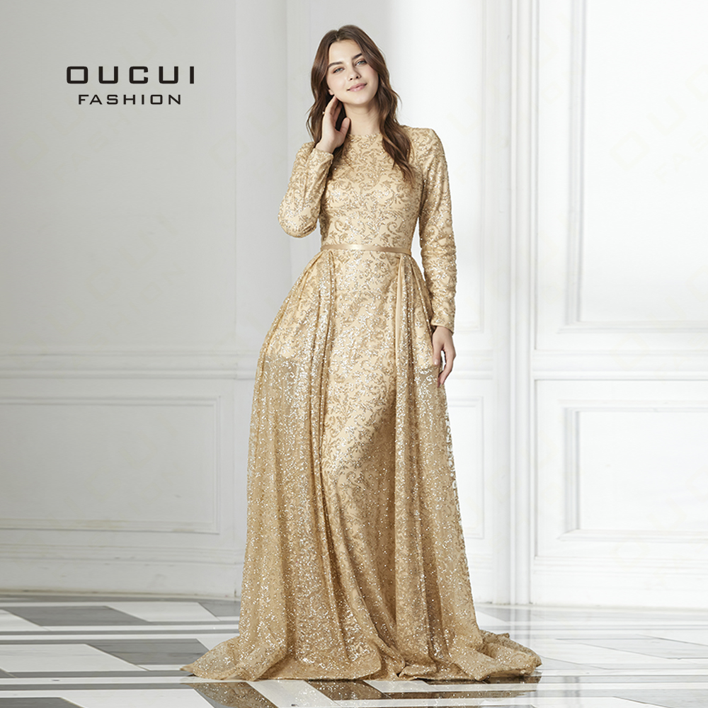 Real Photos Tulle Ball Gown Full sleeve Gold Appliques Scoop Long   Evening     Dress   Illusion Close Back The Built-in Bustle OL103067
