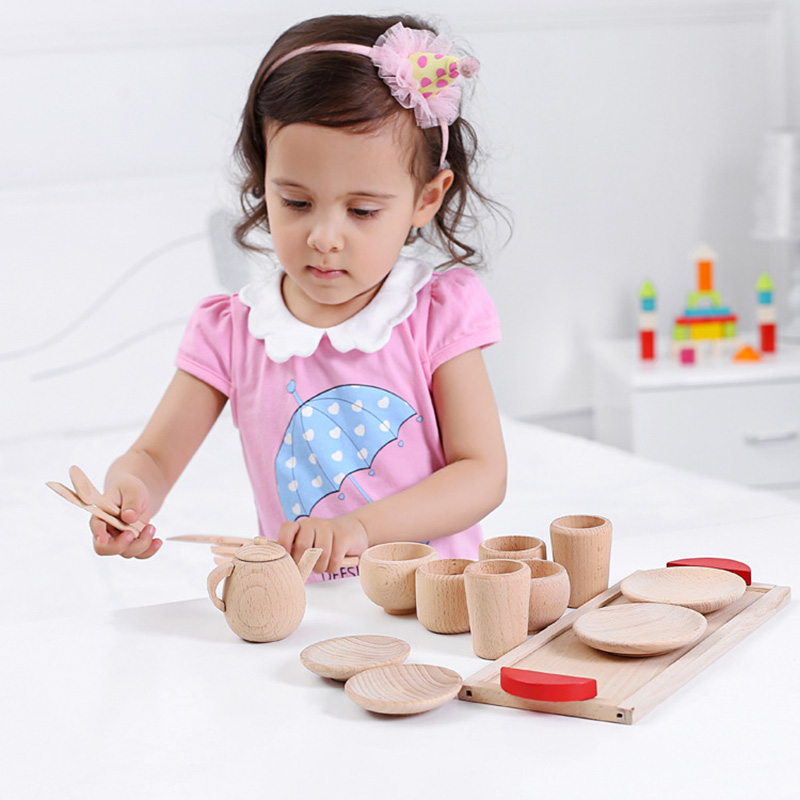 Деревянный Моделирование Кухня Пособия по кулинарии Чай набор дерева Цвет образования претендует игрушки для девочек Подарки для детей