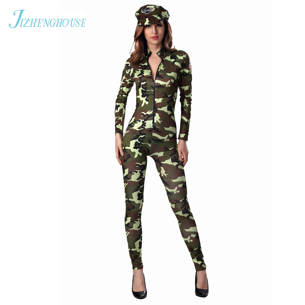 JIZHENGHOUSE Womens Army Soldier Costume Uniform Party Fancy Jumpsuit Outfit Camo For Halloween ...