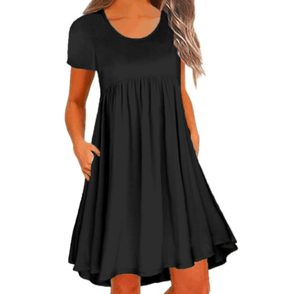 Women's Casual Dress Round Neck Short Sleeve Loose Summer Dress with Pockets Women Elegant Dress Short Sleeve Party Dresses Hot