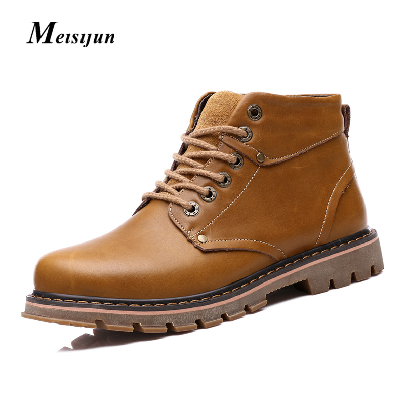 MEISIJUN No/plus money section crazy horse high heel shoes martin boots men lace casual boots tooling boots