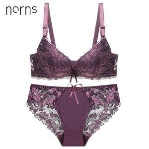 Image 2 - Norns Nữ Plus Kích Thước Bộ Đồ Lót Trong Suốt Push Up Đỏ Đồ Lót Áo Ngực Phối Ren Thêu Thân Mật Áo Lót Bộ Đồ Lót Ren Sexy
