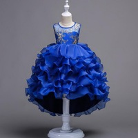 Long Tail Girls Princess Dress Kids Embroidery Tutu Cake Dress for Party Wedding Young Girls sleeveless Tulle Dress Prom Clothes