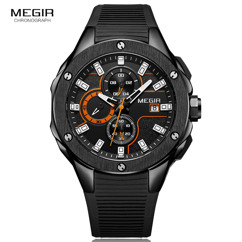 MEGIR Chronograph Quartz Men Watch Clock Relogio Masculino Luxury Brand Silicone Army Military Sport Watches Mens Saat 2053 reef tiger brand men s luxury swiss sport watches silicone quartz super grand chronograph super bright watch relogio masculino