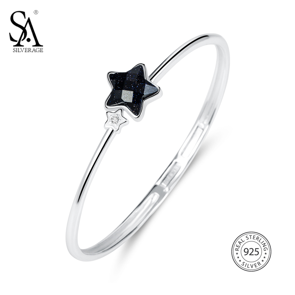 SA SILVERAGE Real 925 Sterling Silver Star Bracelets Bangles Fine Jewelry Vintage 925 Sterling Silver Cuff