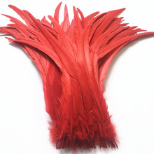 50Pcs/Lot Red Rooster Tail Feather 30-35cm 12-14inch Natural Pheasant Feathers for Crafts Wedding Decoration Accessories Plumes