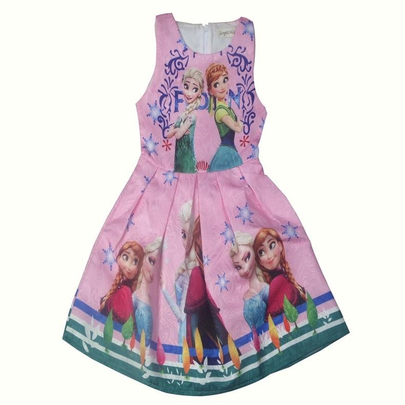 Gils dress ice snow odd edge princess dress baby Sleeveless Slim Jacquard Pleated dress children school festival Show dress 3-8y