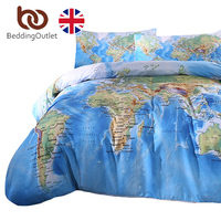 BeddingOutlet World Map Bedding Set Vivid Printed Blue Bed Duvet Cover With Pillowcases Soft Microfiber Home