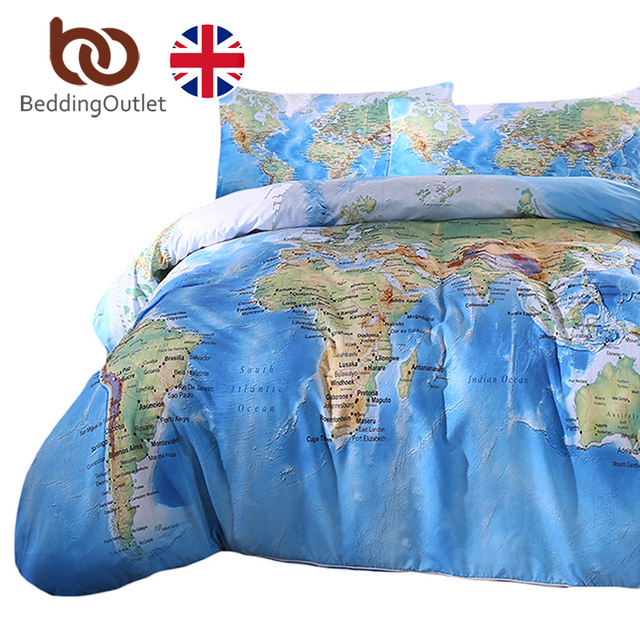 beddingoutlet world map bedding set vivid printed blue bed duvet cover with pillowcases soft microfiber home