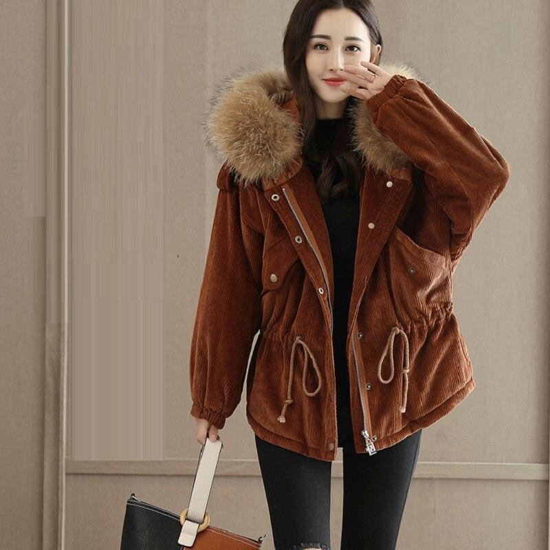2018 À Capuche Sugar Zippée Manteau Femmes Velours burnt Parkas Coton Black Style Coréenne D'hiver Épais Chaud Poche fFfSrBq
