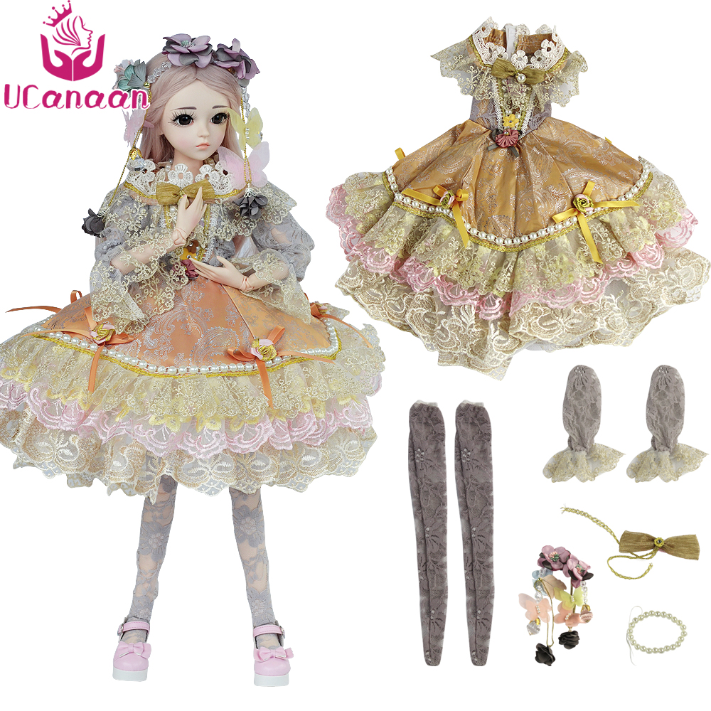 UCanaan 1/3 SD BJD Doll Clothes Include Dress headdress Stocking BJD Clothes Dresses for Dolls 1/3 Fashion Doll's Accessories beioufeng 1 3 1 4 1 6 sd bjd doll clothes include shirts black skirt and tie student uniform bjd clothes for dolls accessories