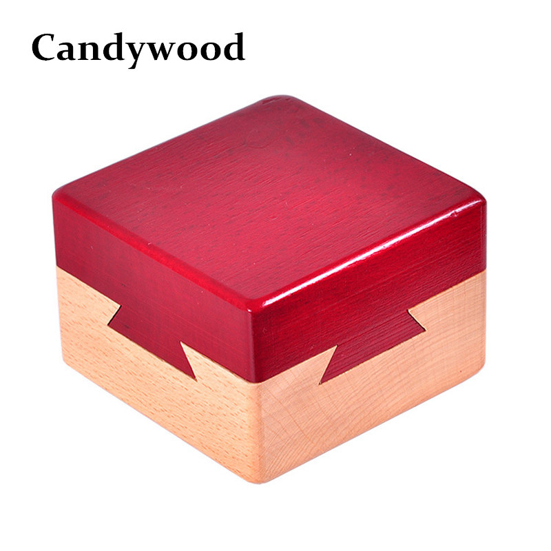 Candywood High quality Wooden Magic Box Puzzle game Luban lock IQ font b toys b font