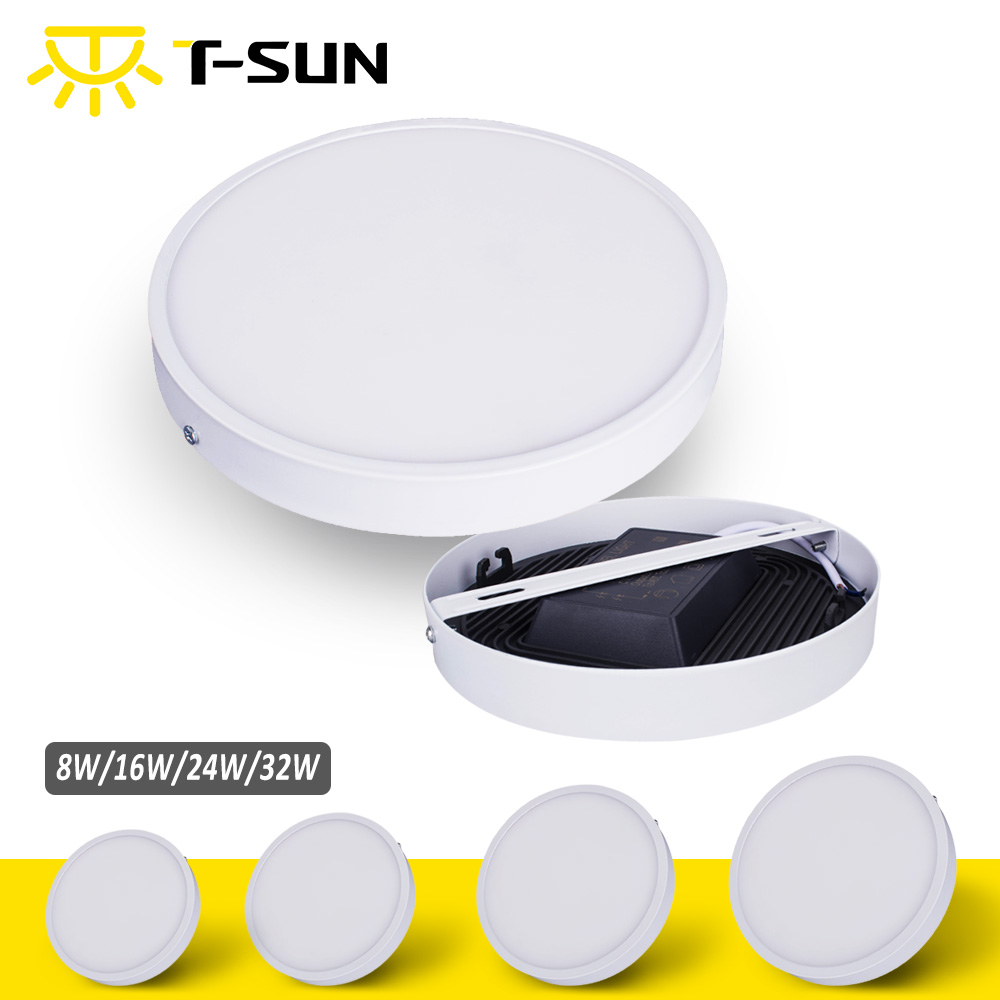 T-SUNRISE Ultra-cienki panel LED Downlight Panel Light Round Square LED sufitowy wpuszczany Surface Mounted LED lampa 8W / 16W / 24W / 32W