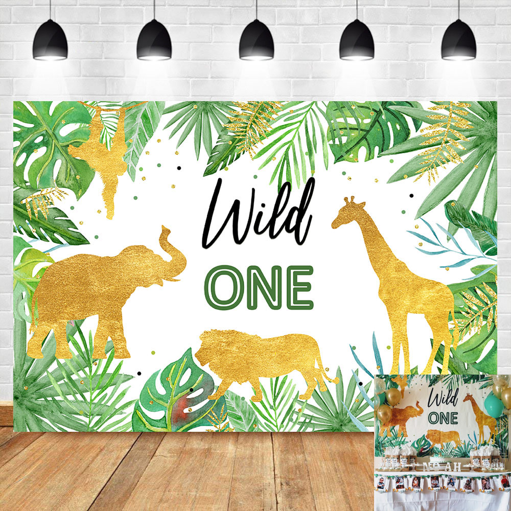Wild One Birthday Backdrop Jungle Animals Party Photo Background Gold Safari Tropical Leaves Backdrops Cake Table Decorations