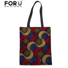 FORUDESIGNS Canvas Shoulder Bags Women African Traditional Printing Shopping Ladies Linen Tote Bag for Female Eco