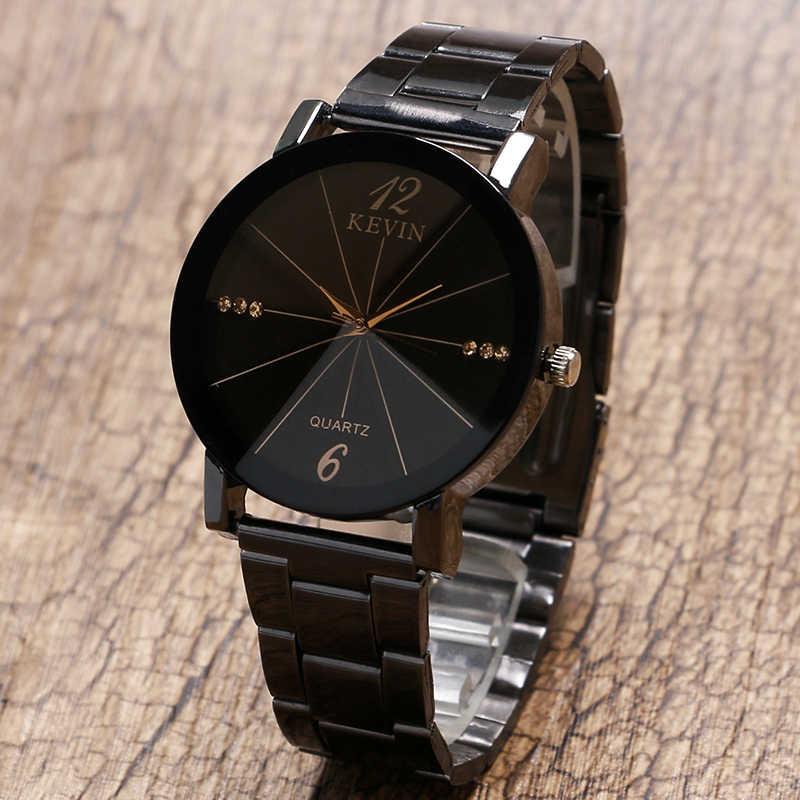 e43c79c0a0c9f5 ... Online Sale Black Stainless Steel Crystal Wrist Watch Simple Quartz  Watch Men Women Elegant Unique Popular ...