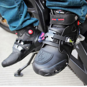 Image 5 - Motorcycle Ankle Racing boots speed BIKERS leather race riding street moto boots Motorbike Touring Chopper protective gear Shoes