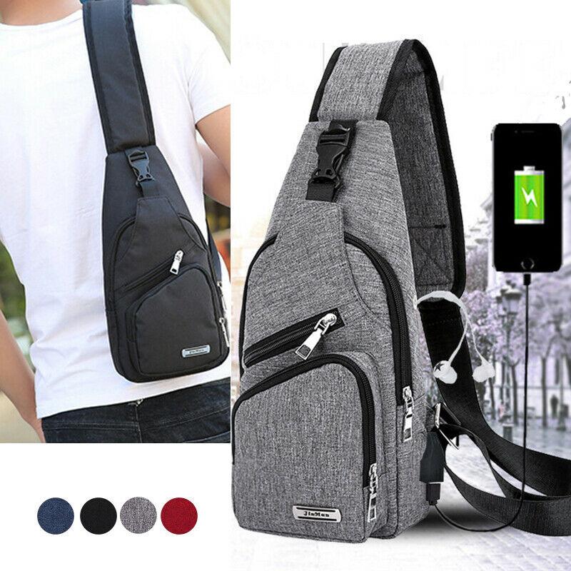 NoEnName 2019 Unisex Shoulder Bag Sling Chest Pack USB Charging Sports Crossbody Handbag
