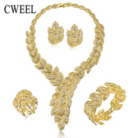 Jewelry Sets For Women Fine Crystal Necklace Set African Beads Earrings 18k Gold Plated Pendant Wedding