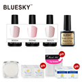100% Genuine Bluesky 3pcs Pink Colors Gel 1pcs Base&Top Coat Easy Soak off UV Gel