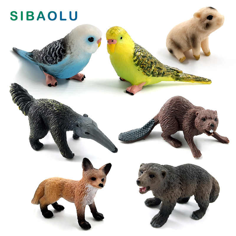 Artificial Parrot bird Fox Beaver figurine Bonsai animal Model home decor miniature fairy garden decoration accessories statue