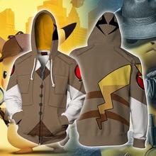 Pokemon Detective Pikachu Men Women Hoodie Sweatshirt Cosplay 3D Printed Anime Cartoon Cute Hoodies zip Jackets