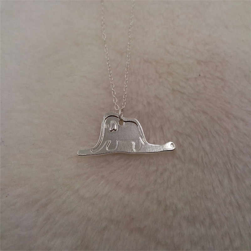 Hot Atacado Príncipe Bonitinho elefante Pingente Mulheres Colar para crianças meninas Presente da moda Colares jewelryGold/banhado a Prata