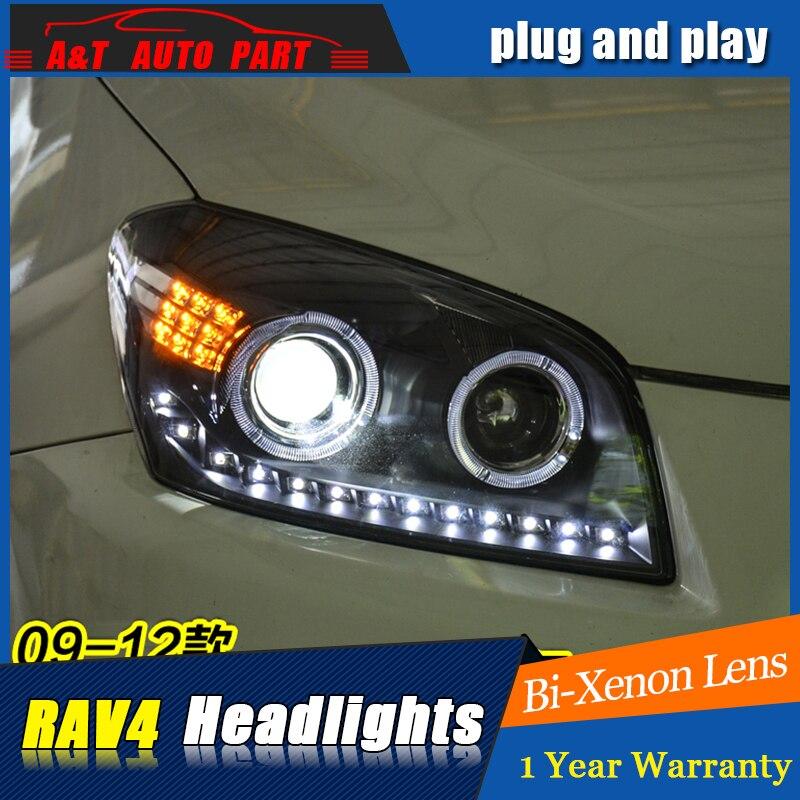 A&T Car Styling For toyota RAV4 headlights 2009-13 For RAV4 LED head lamp Angel eye led DRL front light Bi-Xenon Lens xenon HID car styling headlights for toyota rav4 led headlight 2013 2015 for rav4 head lamp led daytime running light q5 lens bi xenon hid