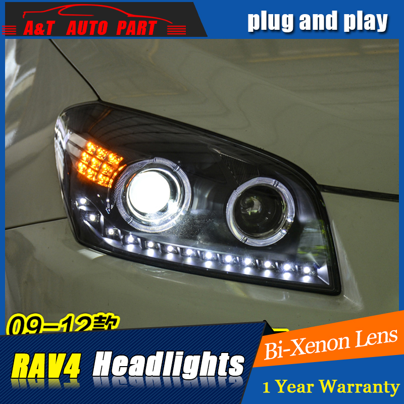 Car Styling For toyota RAV4 headlight assembly 2009-13 For RAV4 LED head lamp Angel eye led DRL front light h7 with hid kit 2pcs rockeybright 1set all in one n1 h7 led headlight fog head lamp kit with 2pcs h7 led adapter for the new jetta for the new bora