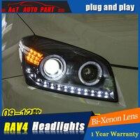 Car Styling For toyota RAV4 headlight assembly 2009 13 For RAV4 LED head lamp Angel eye led DRL front light h7 with hid kit 2pcs