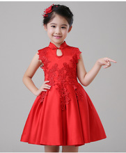 2016 new children girls red Chinese wedding cheongsam dress princess dress flower girl dress party dress free shipping