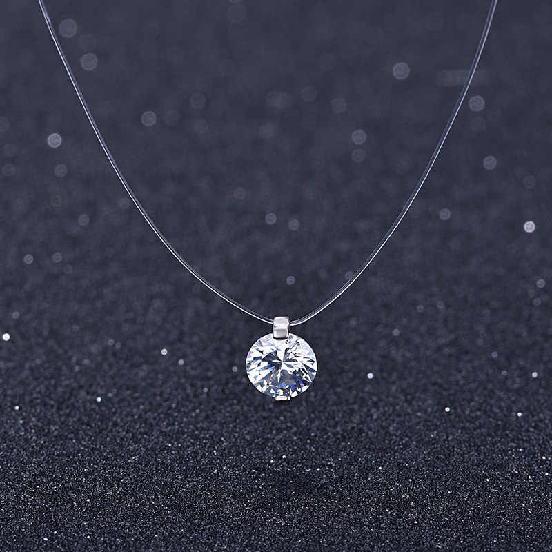 2019 Female Transparent Fishing Line Necklace Silver Invisible Chain Necklace Women Rhinestone Choker Necklace Collier Femme