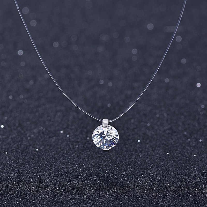 2019 kobiet przezroczysta żyłka wędkarska naszyjnik srebrny niewidzialny naszyjnik łańcuch kobiety Rhinestone Choker naszyjnik Collier Femme